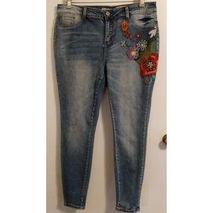 Indigo Rein Skinny Jegging Jeans Embroidery 18